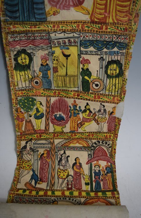 19th C. Cheriyal Indian Handpainted Narrative Scroll - 2