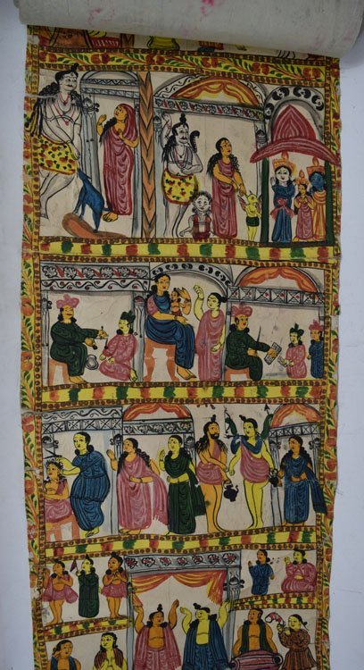 19th C. Cheriyal Indian Handpainted Narrative Scroll - 3