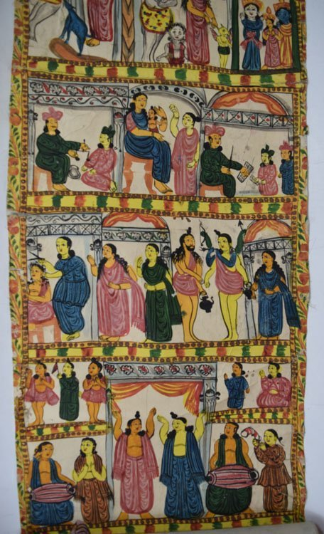 19th C. Cheriyal Indian Handpainted Narrative Scroll - 4