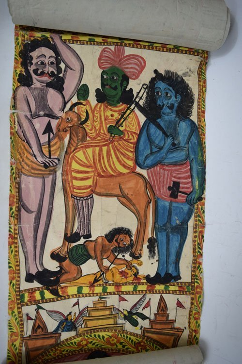 19th C. Cheriyal Indian Handpainted Narrative Scroll - 5