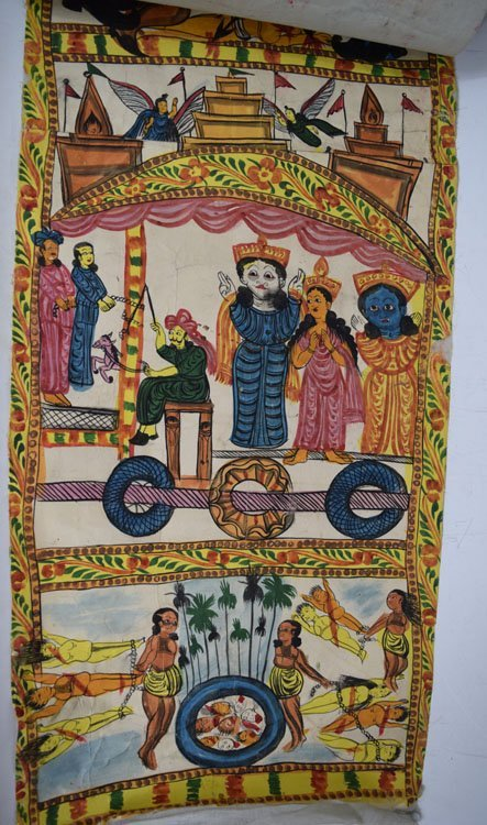 19th C. Cheriyal Indian Handpainted Narrative Scroll - 6