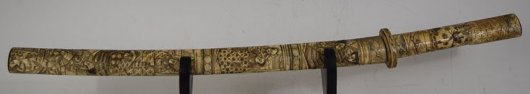 Highly decorated Japanese Sword with carved Bone handle