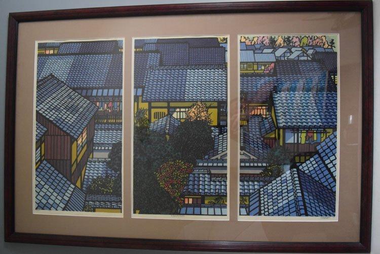 """Brian Williams """"Nishijin Roofs"""" woodblock print"""