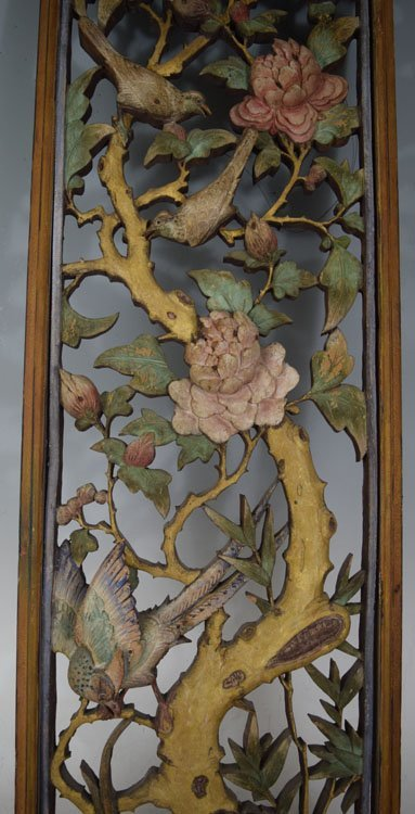 Antique Asian Wood Carved Decorated Panel - 3