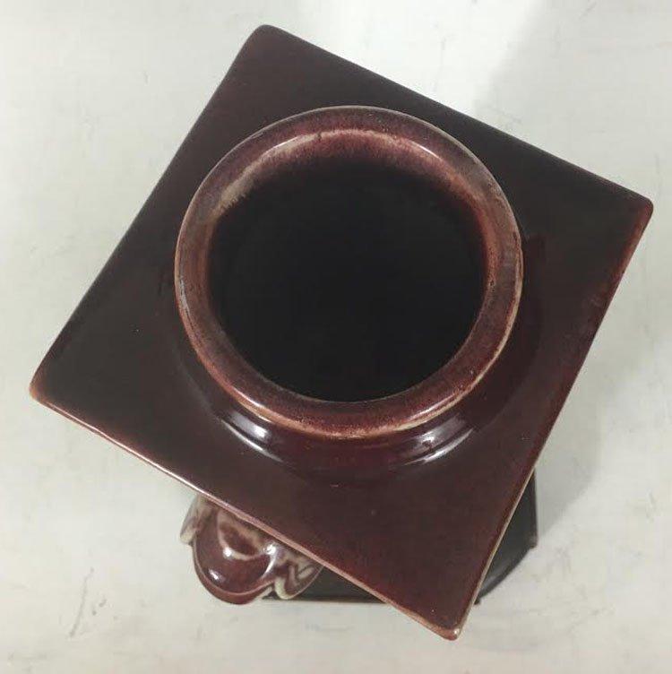 19th Century Chinese Flambe Glazed Square Vase - 4
