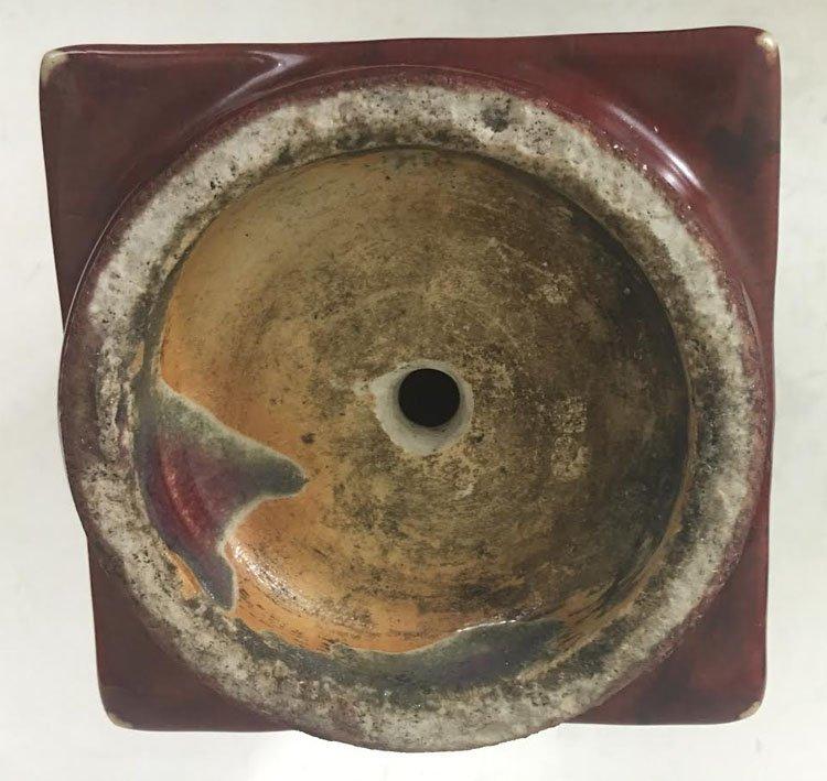 19th Century Chinese Flambe Glazed Square Vase - 5