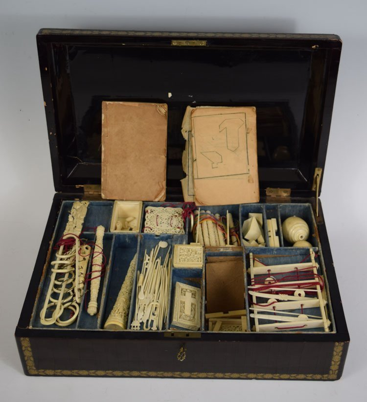 19th C Chinese Ivory Puzzle Game with Original Box - 2