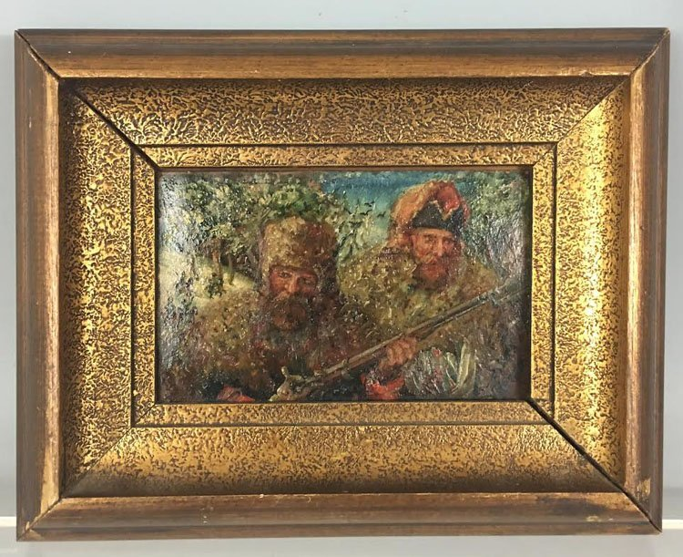 Russian 1820 Oil on Zing Military Cossacks Painting