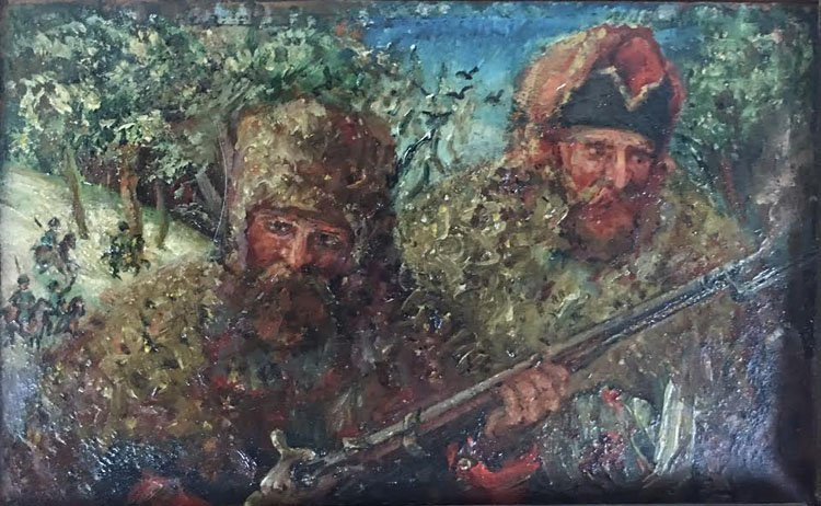 Russian 1820 Oil on Zing Military Cossacks Painting - 2