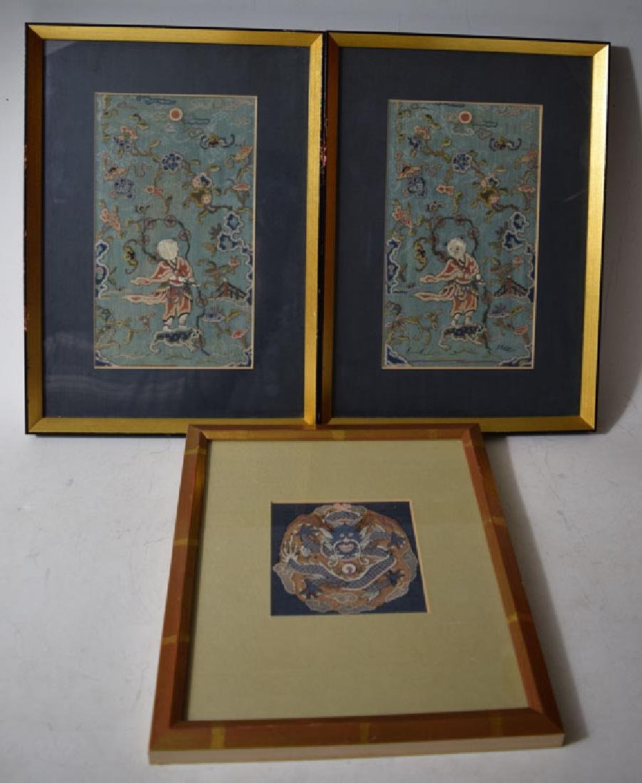 Two Framed Silk Embroidery and Dragon Rank Badge