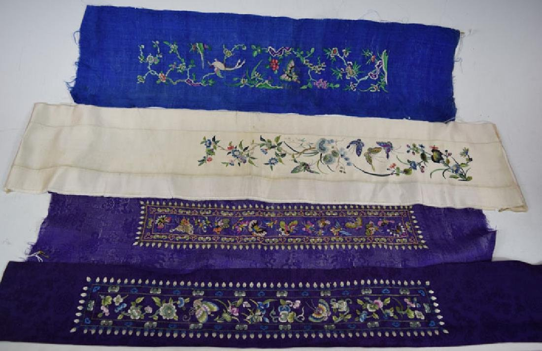 Four  Qing Dynasty Chinese Sigle Sleeve Embroideries