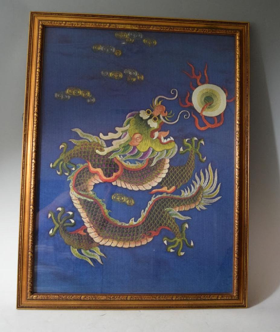 Antique Chinese Framed Dragon Silk Embroidery