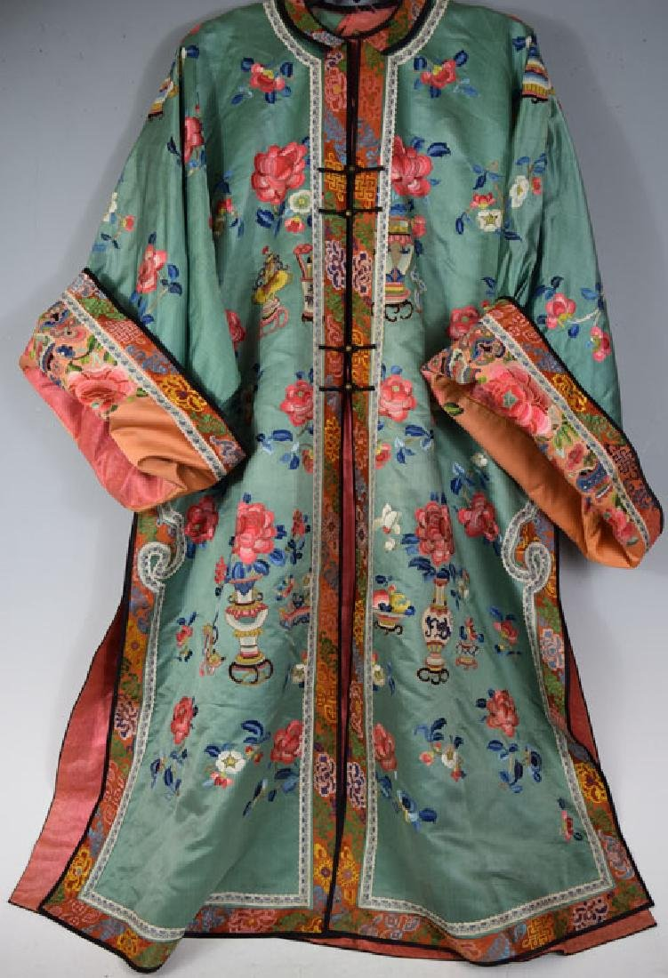 Chinese Embroidered Green and Red Silk Robe