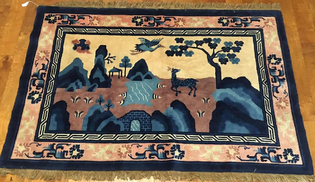 Early 20th Century Chinese Pictorial Rug.