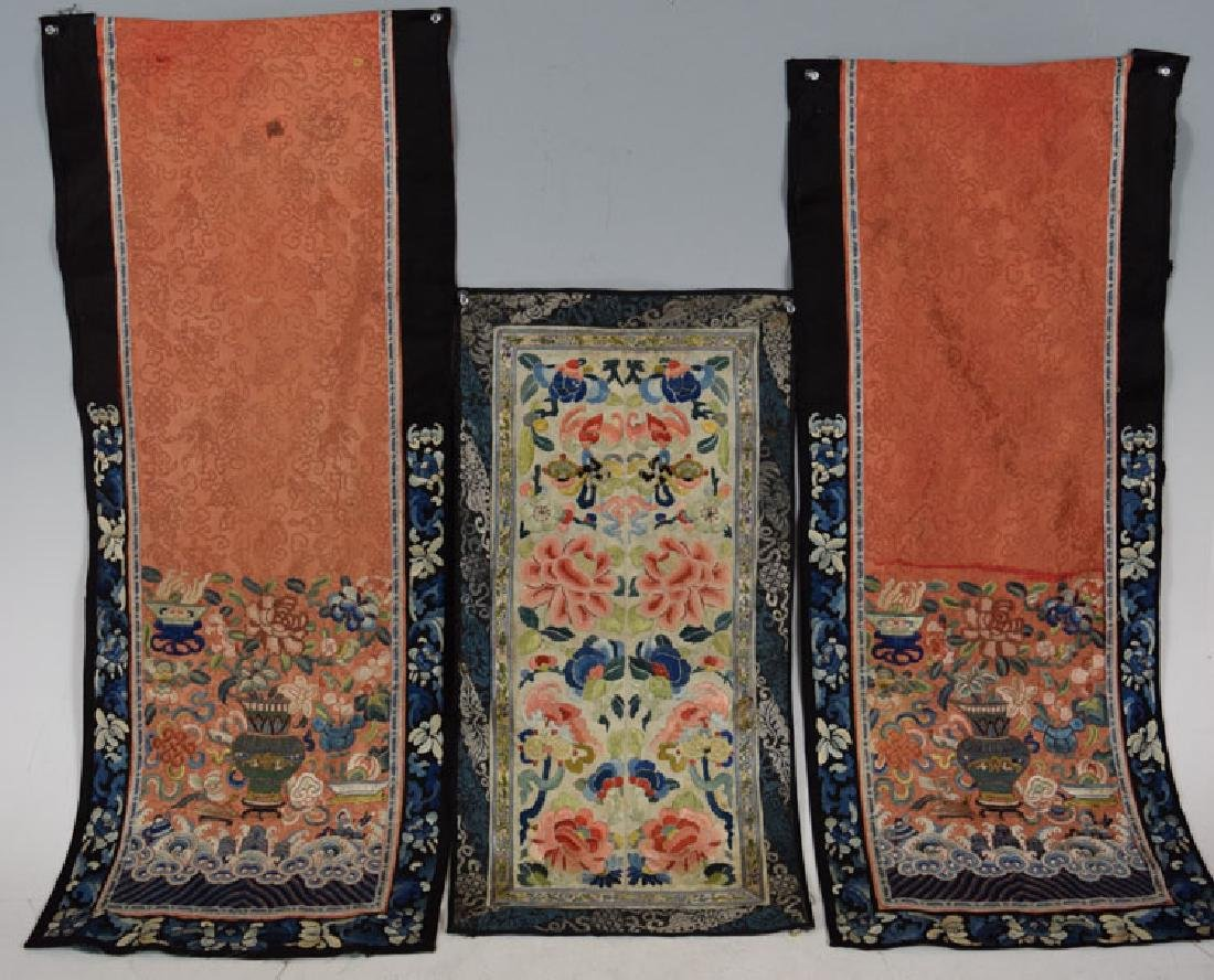 Three 19th Century Chinese Silk Embroidery Panels.