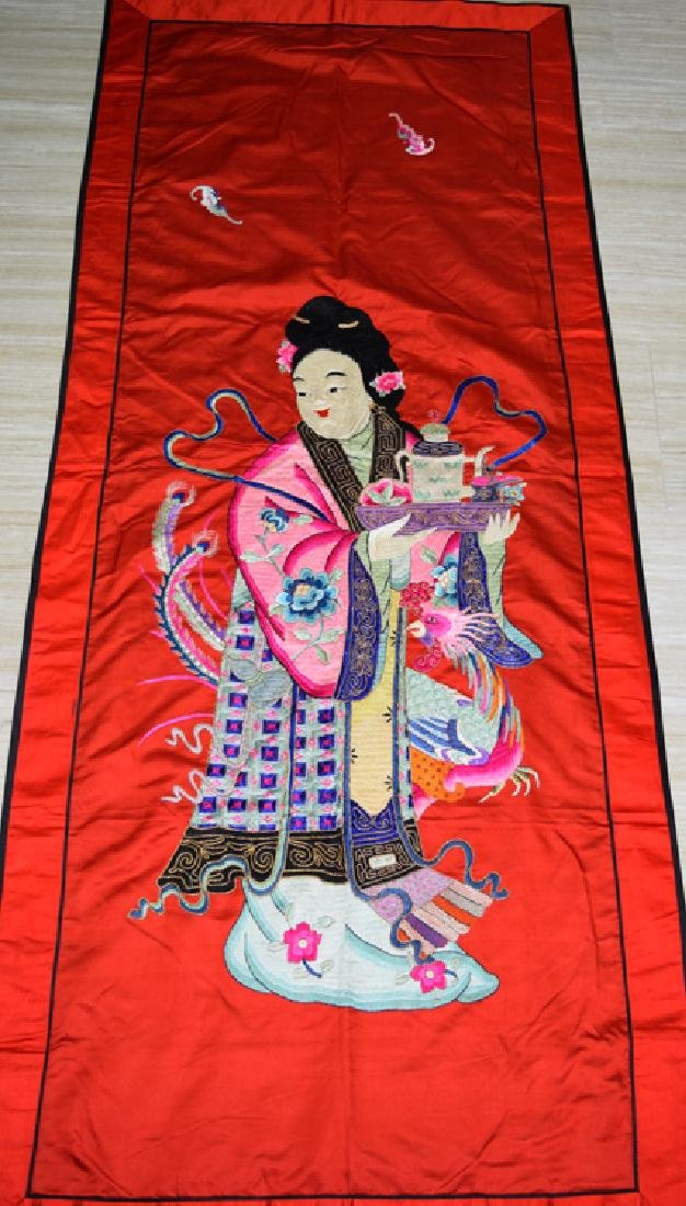 Qing dynasty Chinese Silk Embroidery Panel