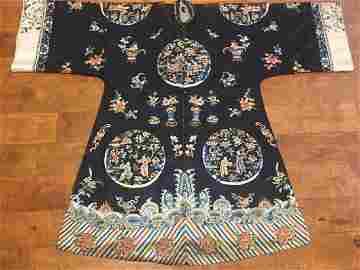 Antique Chinese Dark Blue Silk Embroidered Robe