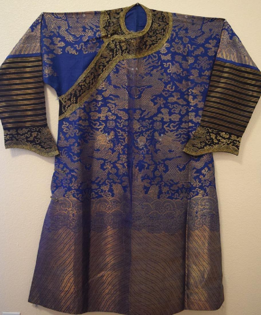 Antique Chinese Blue Silk Ground Brocade Dragon Robe