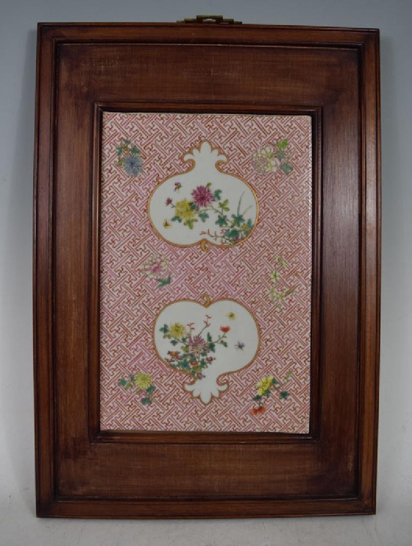 19th C. Chinese Famile Rose Enameled Porcelain Plaque