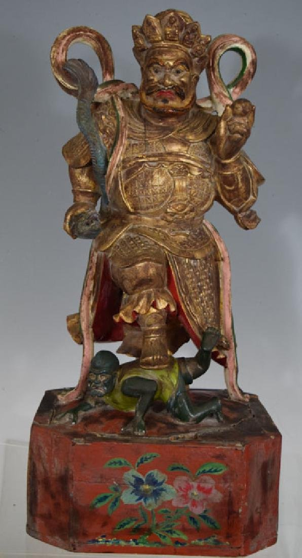 Antique Chinese Carved gilded Wooden Warrior Statue