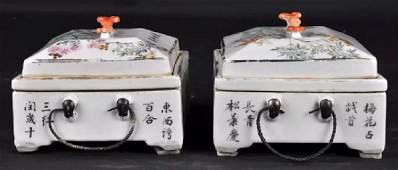 Xu Dasheng - A Pair of Porcelain Boxes