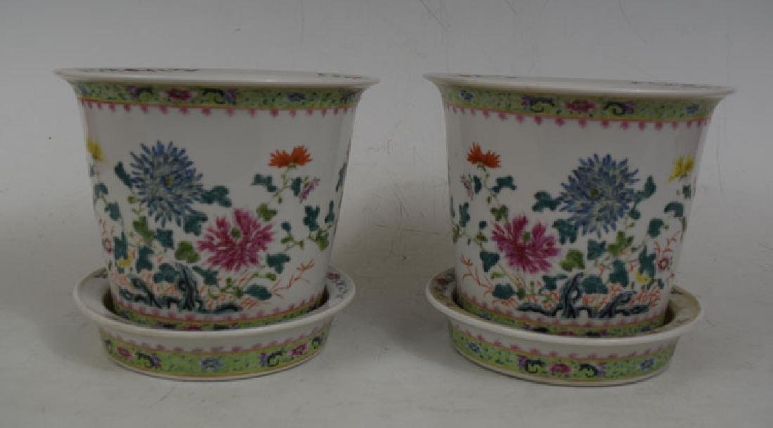 Two Chinese Planters and Plates