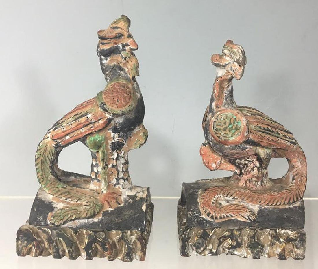 Pair of Antique Chinese Roof Tile Phoenix Birds