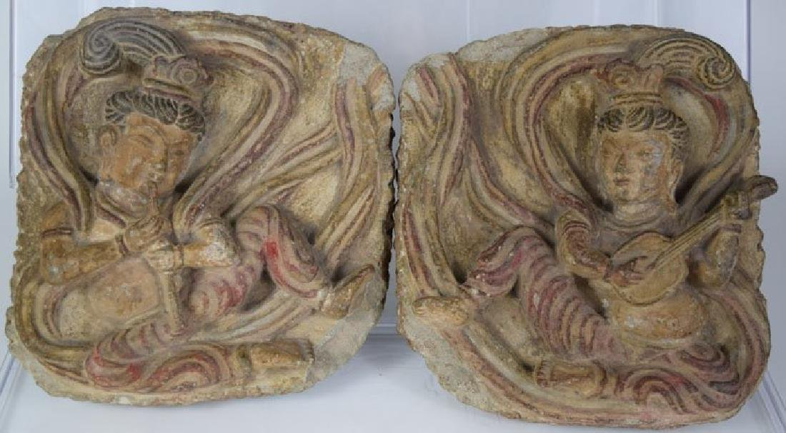 10th-12th Century Pair of Chinese Carving Stone Buddhas