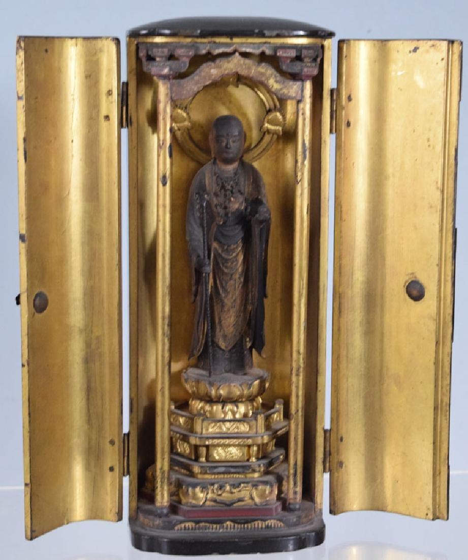 Meiji Japanese Buddha Gilded Wooden Travel Shrine