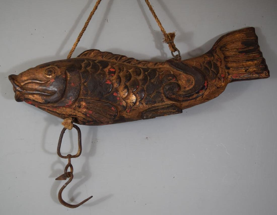 Large Chinese  Carved Wood Advertising Fish Statue
