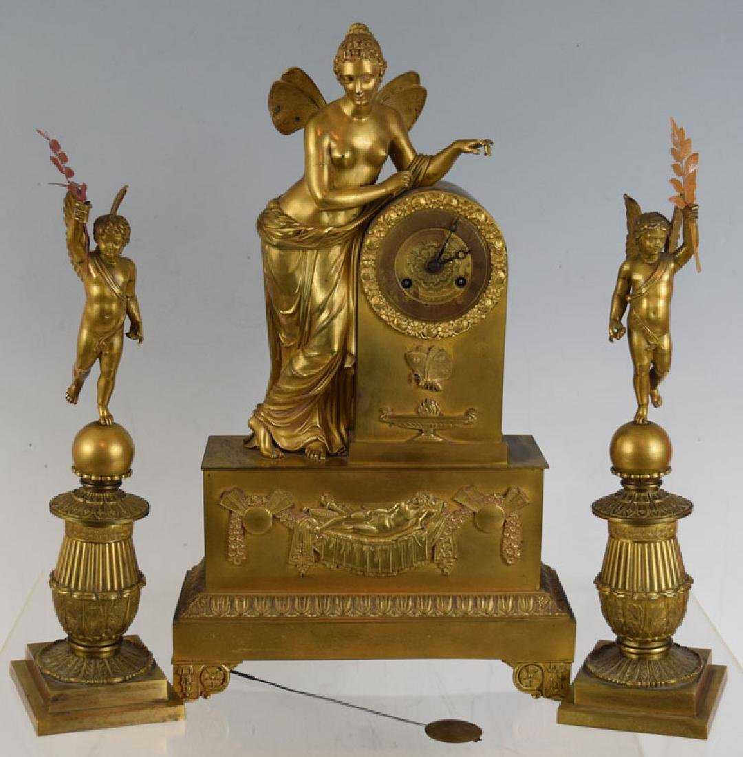 19th Century Three Piece Bronze Clock Set