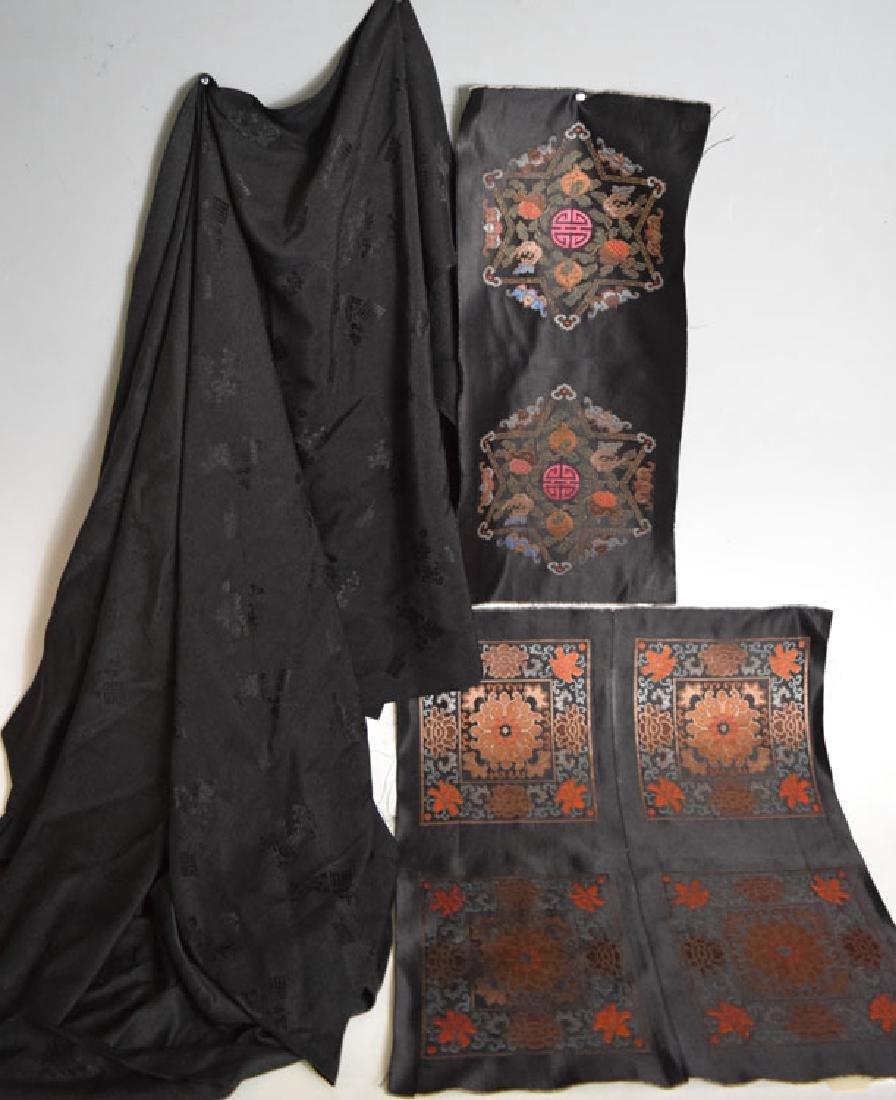 Three Chinese Silk Brocade Embroidery