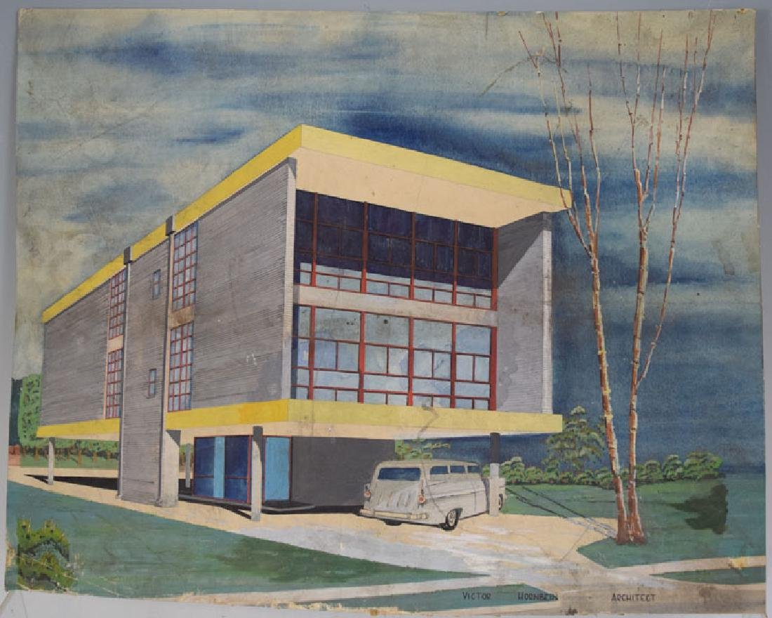 Mid-century Art Deco Architect Watercolor, Victor