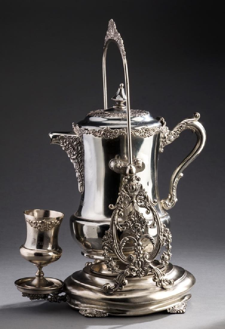 3-Pc Derby tilting silverplate pitcher & goblet set