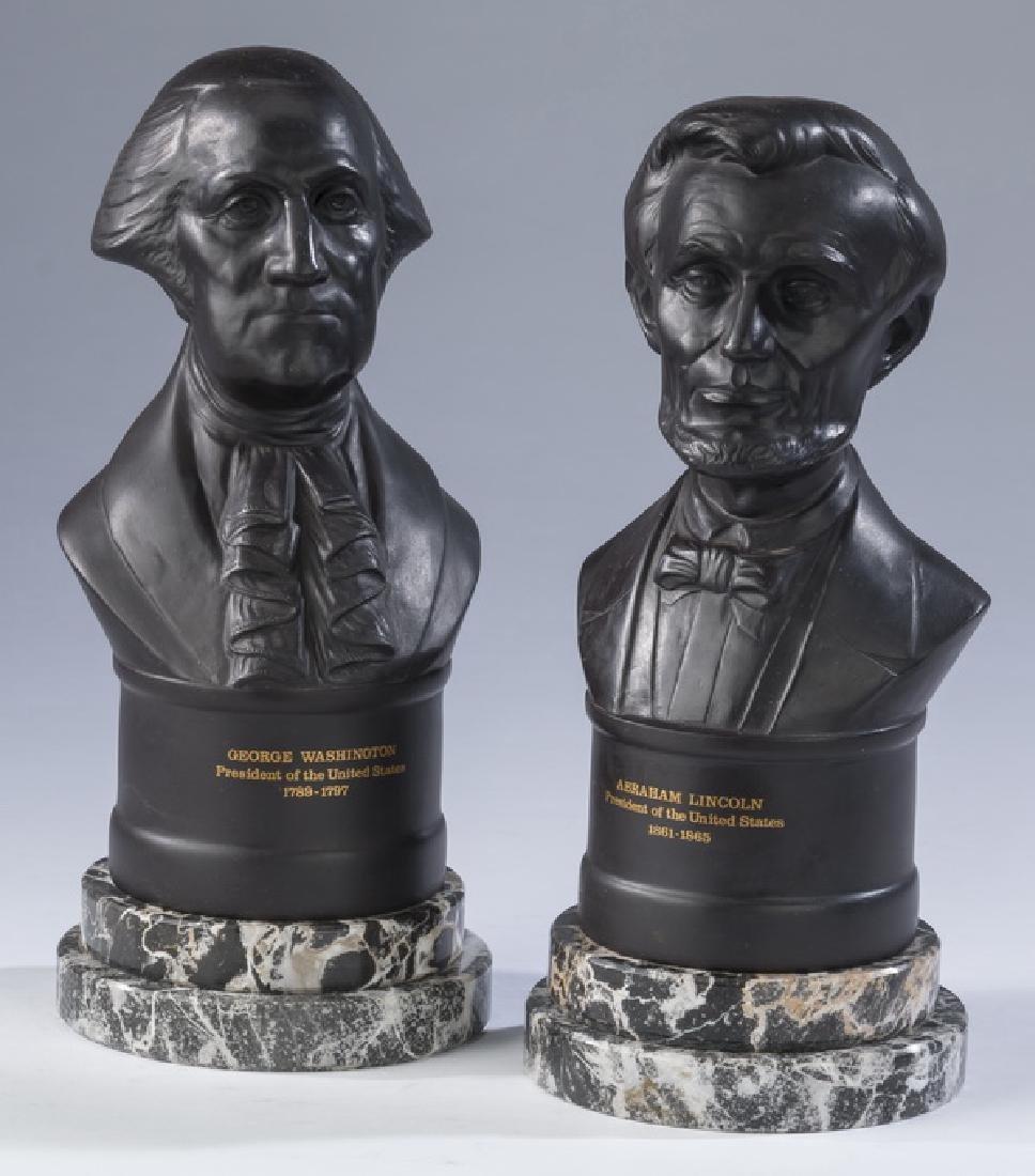 "(2) Wedgwood black basalt busts of Presidents, 10""h"