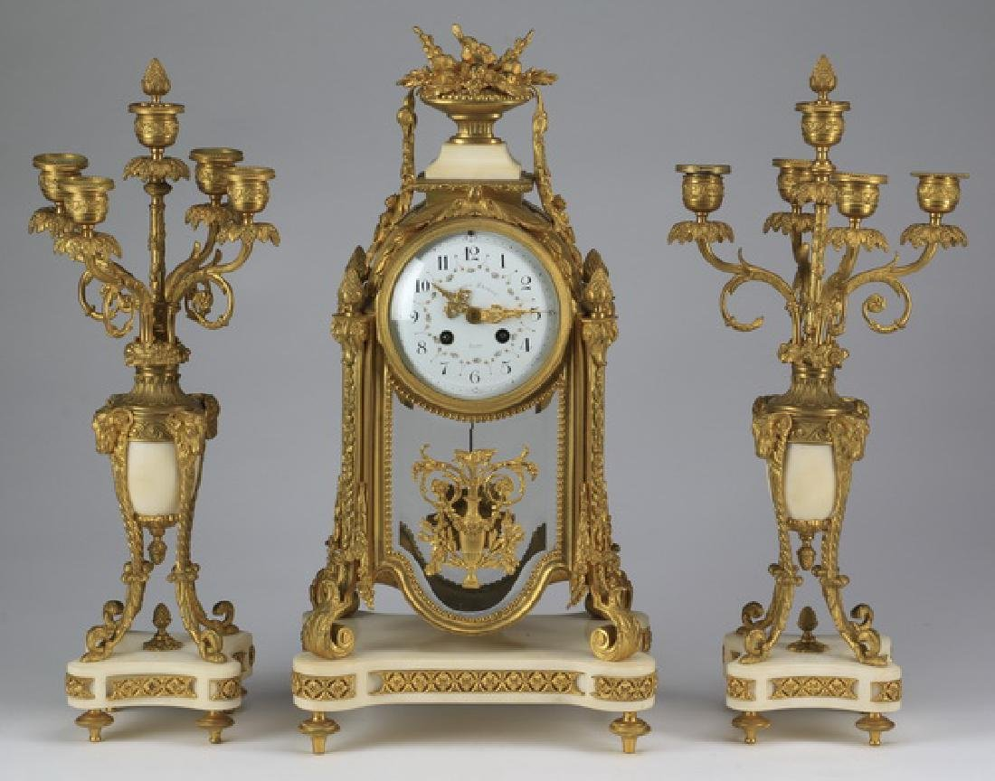 19th c. French bronze and marble clock garniture set
