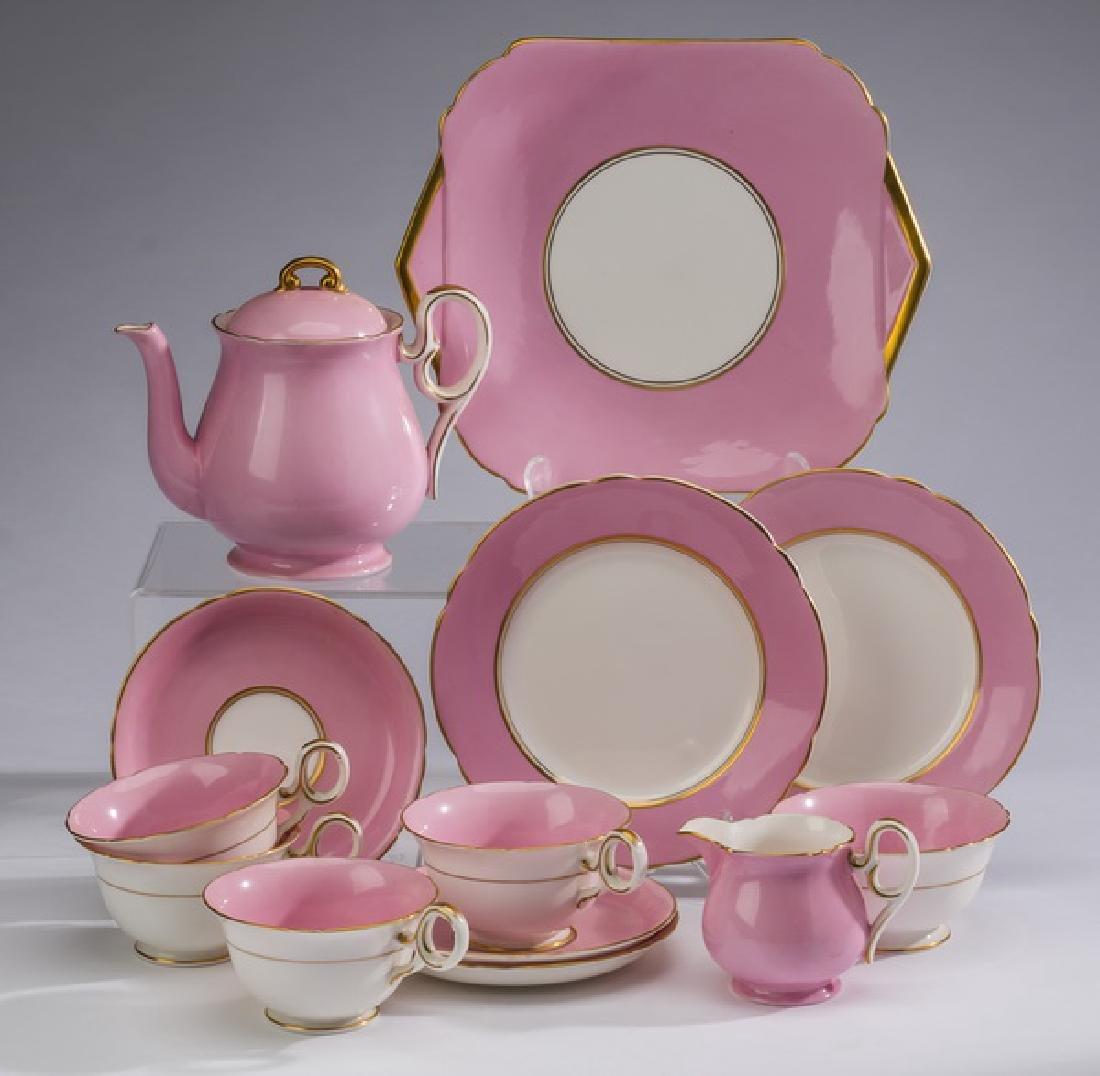 13-Piece Shelley pink porcelain breakfast set, marked