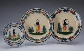 3-Piece Quimper Petite Breton Faience Pottery