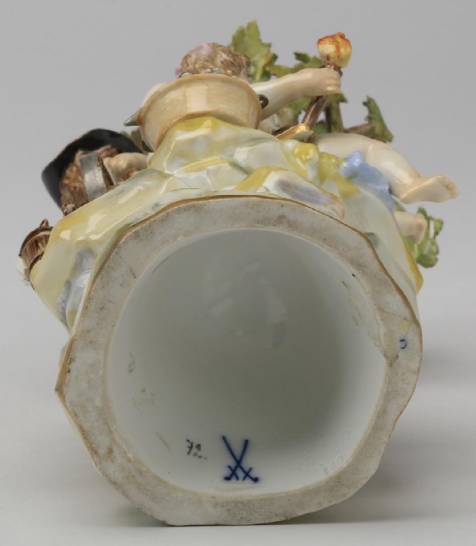 """19th c. Meissen figurine, maker marked, 8""""h - 7"""