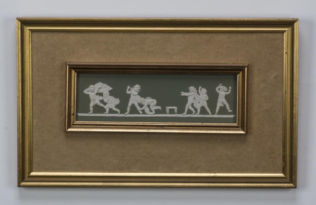 "Framed rectangular putti jasperware plaque, 15""w"