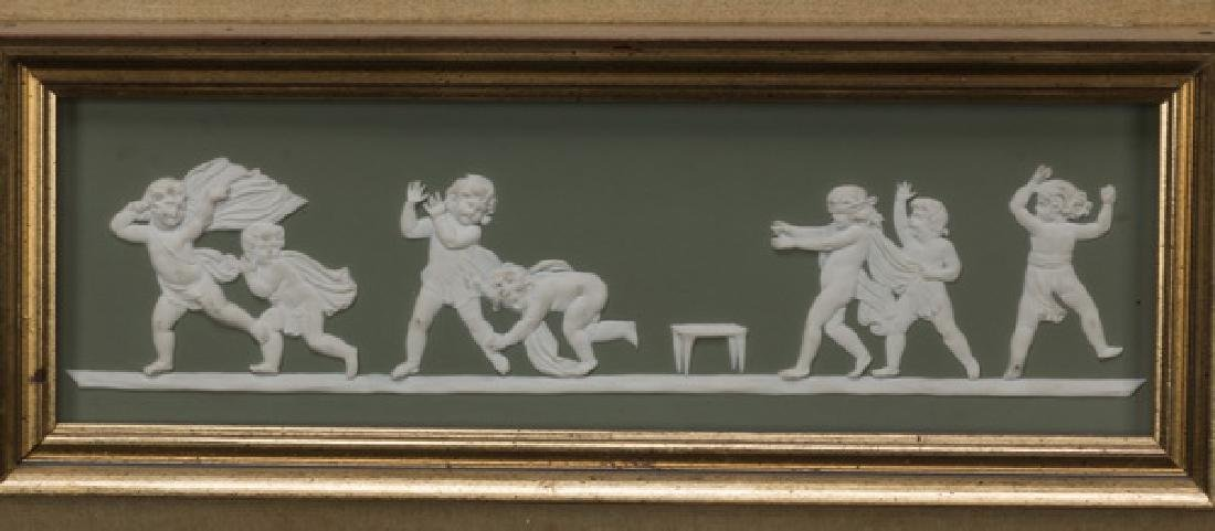 "Framed rectangular putti jasperware plaque, 15""w - 2"