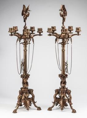 "(2) Art Nouveau Style 5-light Candelabra , 31""h"