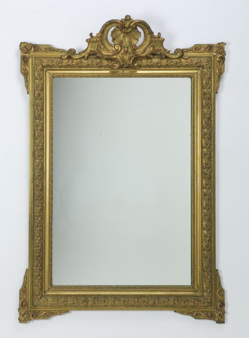 """19th c. carved gilt wood mirror, 47""""h"""