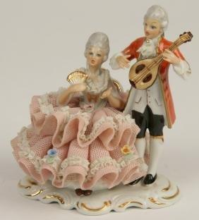 "Dresden Porcelain Grouping, 5""h"