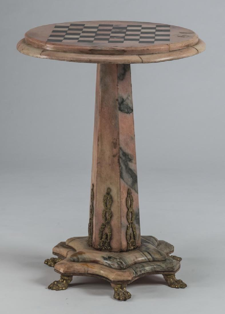 """Rose marble games table with gilt mounts, 29""""h"""