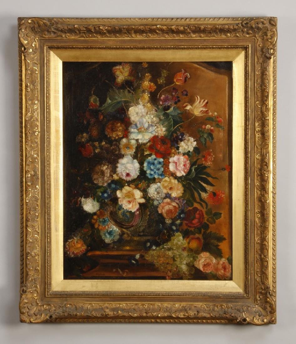 19th c. Continental O/c of floral still life, signed