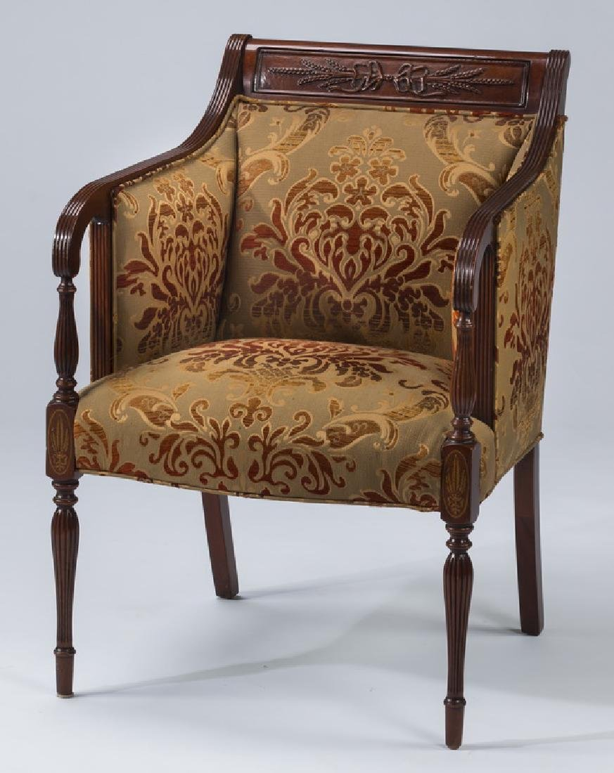 19th c. carved armchair, newly upholstered