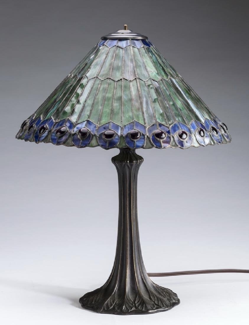 """Mosaic glass peacock feather shade table lamp, 19""""h"""