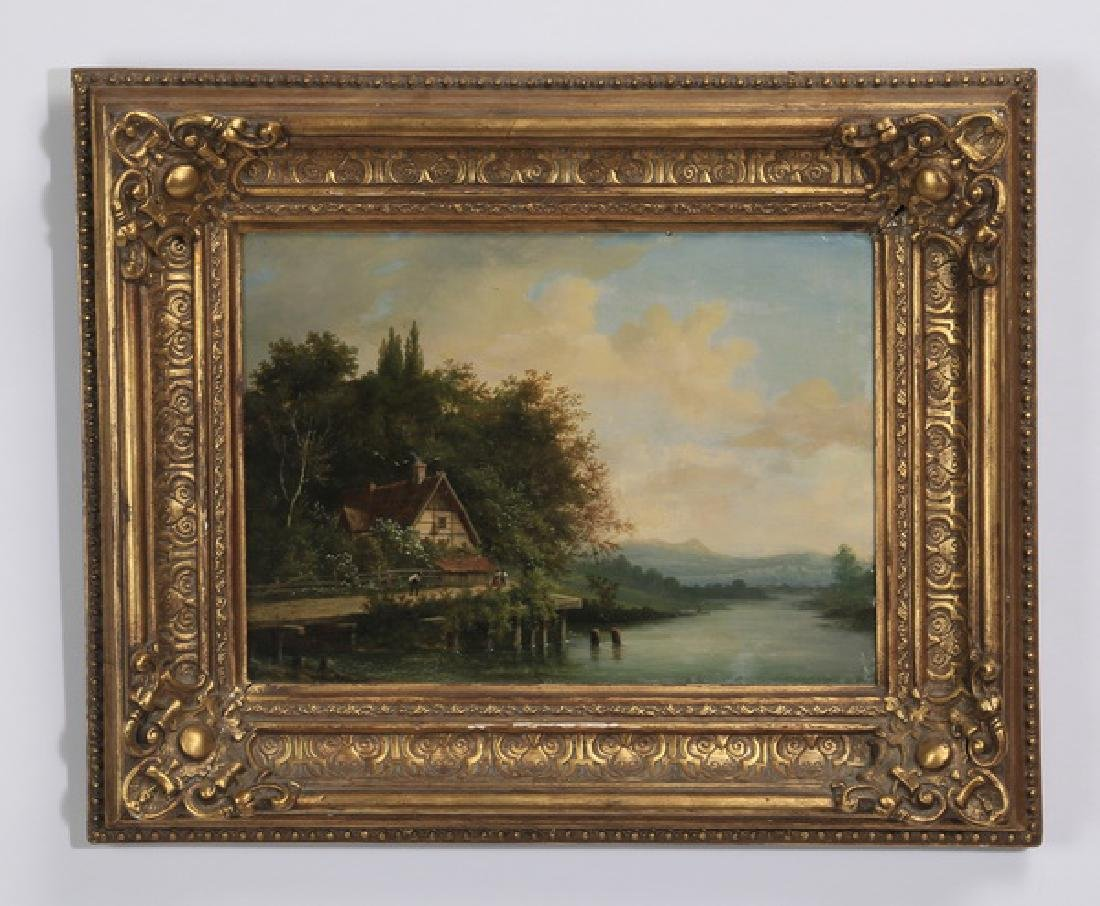 19th c. Continental O/C riverscape with cottage