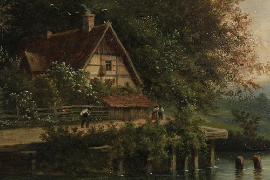19th c. Continental O/C riverscape with cottage - 2